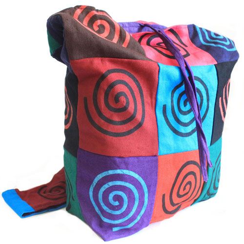 Spiral Cotton Patch Sling Bag