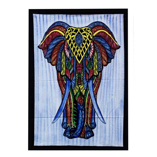 Elephant Hand brushed Cotton Wall Art