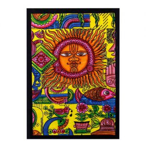 Sun Hand brushed Cotton Wall Art