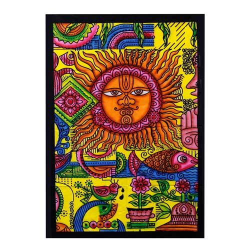 Sun Hand brushed Cotton Wall Art