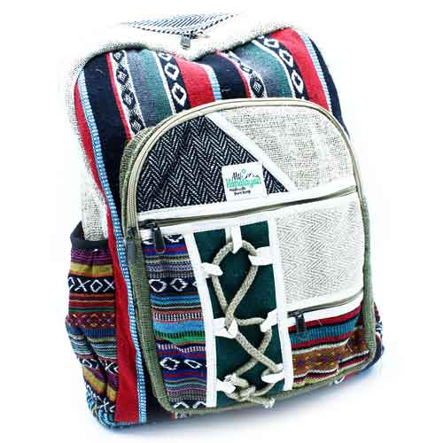 hemp and otton backpack with rope